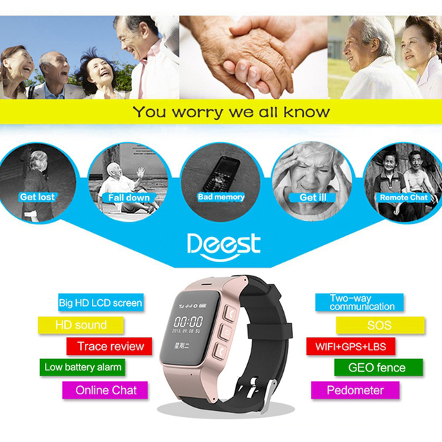 D99 Smart Watch D99 Elderly kids Smart Watch Phone SOS Anti-lost Gps+Wifi Tracking watch for iphone Android phones Old Men Women 3