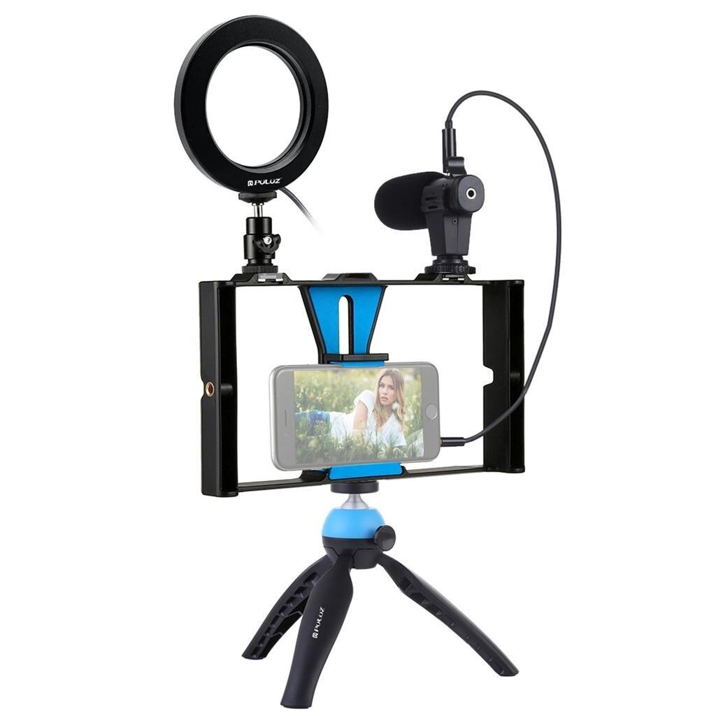 OMESHIN 4 en 1 vlog diffusion en direct Smartphone plate-forme vidéo + anneau LED Microphone lumière vidéo + support trépied + tête de trépied # C0604