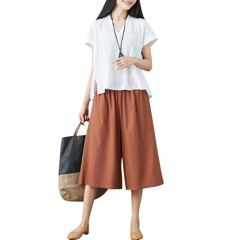 New Cotton Chic   Wide     Leg     Pants   for Women Vintage Elastic Waist Trousers Casual Streetwear Oversized Lady   Pants   Black/Brown/White