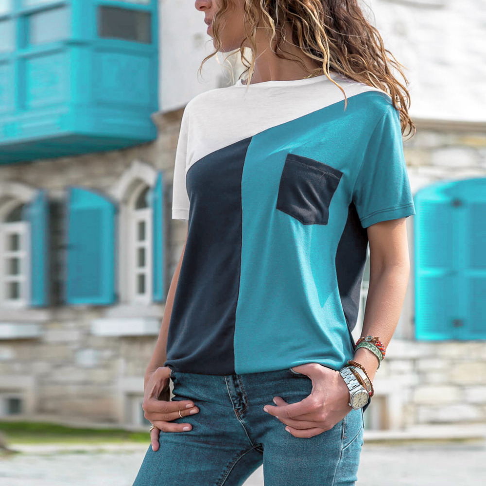 women v neck short sleeve solid color tee t shirt solid v-neck pullover plus size loose t shirt womens summer tops #20