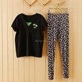 Para mujer negro algodón y Tops Floral Bottoms de pijama ocasionales establece Tops de manga corta para Homewesr pijamas Homewears M