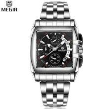 MEGIR Men Auto Date Chronograph Waterproof Multifunction Stainless Steel Quartz Watches