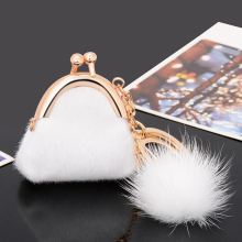 Christmas Gift Women Handbag Keychain Fur Plush Key Ring Holder Girls Bags Charm Women's Jewelry Boutique Collections