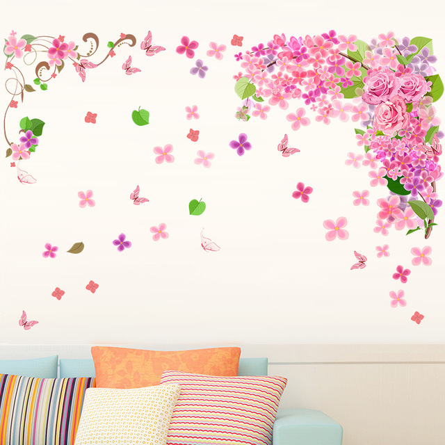 Pink flower vine diy butterfly wall decor stickers for living room pink flower vine diy butterfly wall decor stickers for living room bedroom background decoration teraionfo
