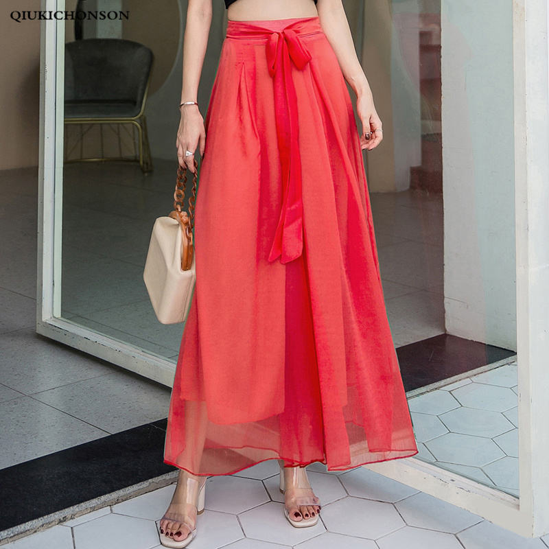 Women Bowknot High Waisted Bohemian Pants Summer Spring Elegant Ladies Falling Chiffon Wide Leg Trousers Culottes Pants Palazzo