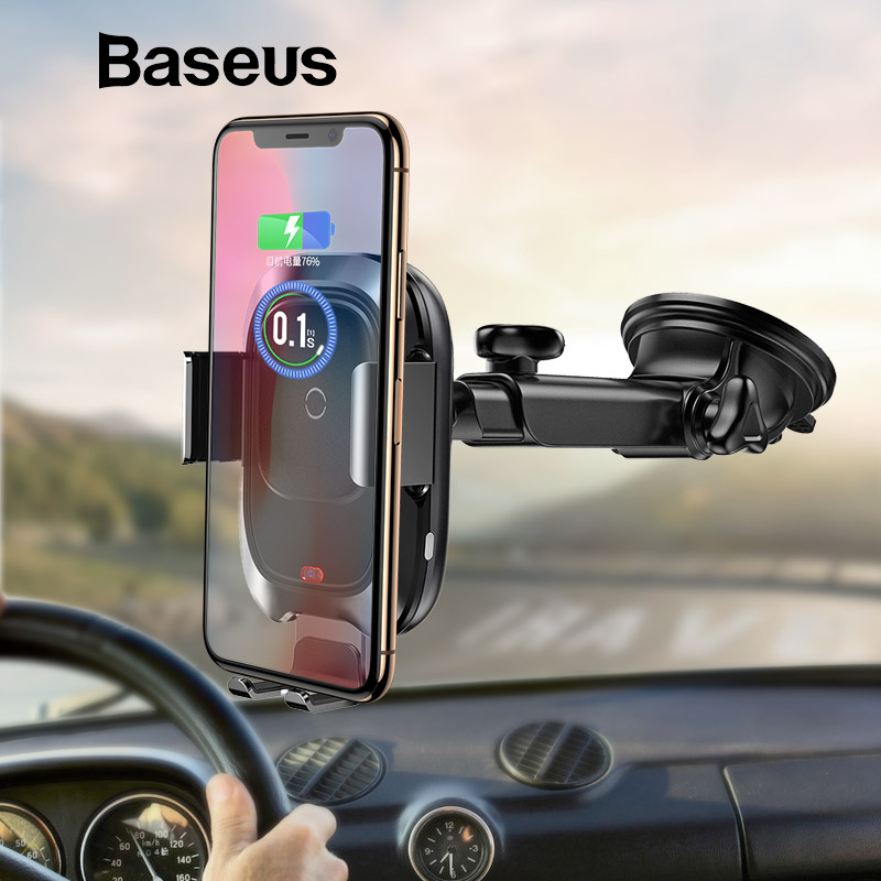 Baseus Qi coche cargador inalámbrico para iPhone cargador de teléfono móvil de infrarrojos de inducción de rápido de carga inalámbrica coche soporte de teléfono