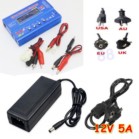 IMAX B6 80 Вт 6A зарядное устройство Lipo NiMh Li-Ion Ni-Cd цифровой RC Баланс Зарядное устройство Dis зарядное устройство+ 12 В 5A адаптер - Цвет: small Tamiya plug