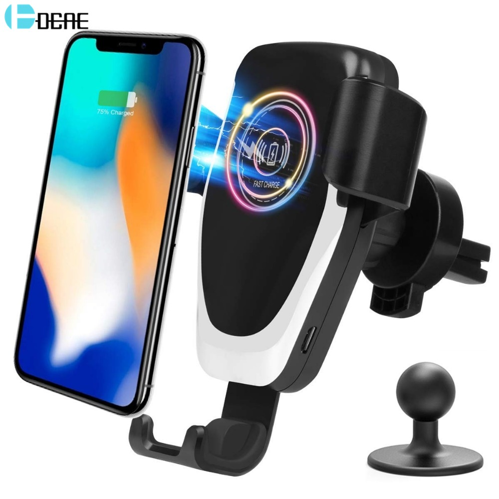 DCAE 10W Fast Qi Wireless Car Charger for iPhone 11 X 8 XS Max XR Samsung S9 S10 Quick Wireless Charging Car Mount Phone Holder image