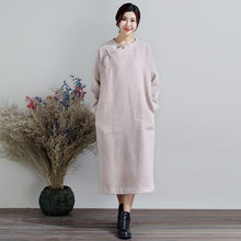 b5adba49a1a85e Autumn Winter Loose Plate Button O-Neck Long Sleeve Improve Woolen Gown  Large Size Women s