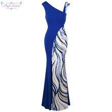 07df79fe46d6f6 Angel-fashions vrouwen Formele Avondjurken Asymmetrische v-hals Splicing  Sequin Slit Mermaid Party Gown Blauw Wit 401