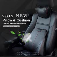 Universal Car Leather Neck Pillow Genuine Leather Memory Auto Seat Cover Head Neck Rest Cushion Headrest