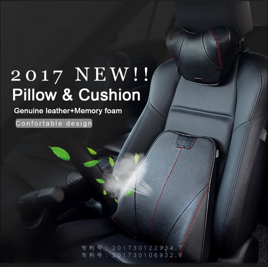 Car Styling Car Neck Pillow Back Support Cushion Genuine Leather+Memory Foam Auto Seat Cover Head Neck Rest Pillow Waist Cushion