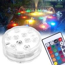 Светодиодный водонепроницаемые светильники для бассейна 10 светодиодный красочный мигающий светильник для аквариума электронный подводный светильник для аквариума zwembad verlichting