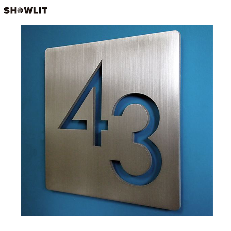 Laser Cut Square Stainless Steel House Number Address Sign