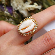 Shell Adjustable Rings Natural Gold/Silver Cowrie Women Best Friend Cowry Seashell Bohemian Jewelry