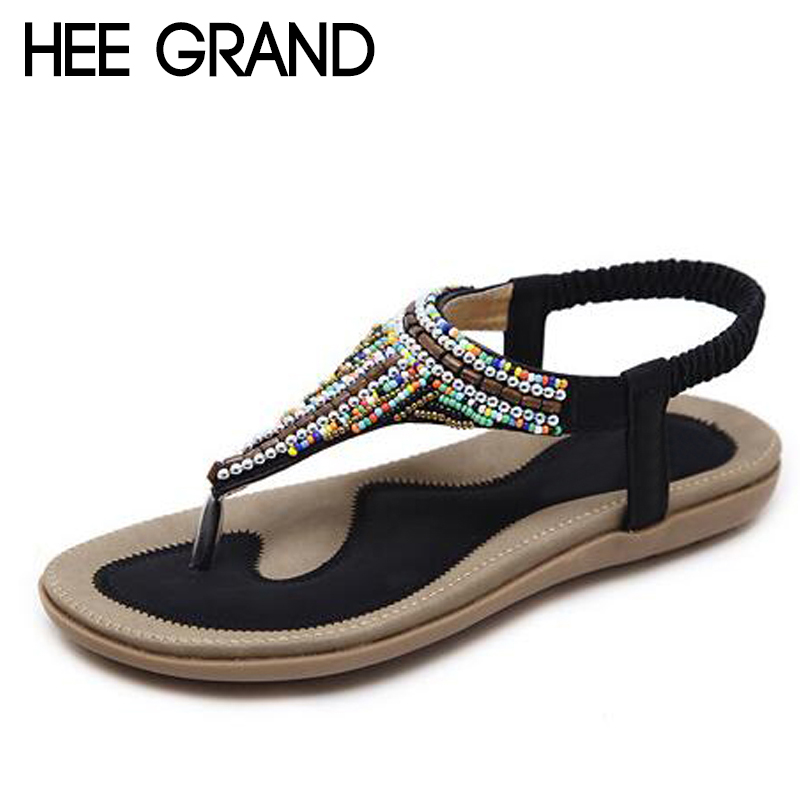 HEE GRAND 2018 Women Soft Casual Sandals Woman Platform Colorful Rhinestone with Flats Comfortable Wearing Women Shoes XWZ4638