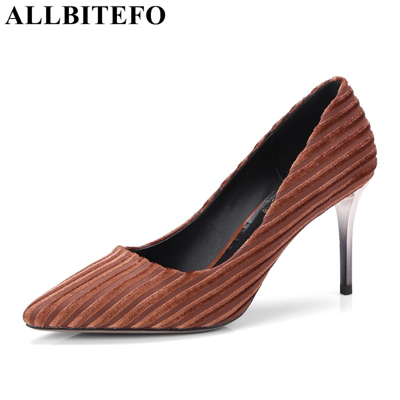 ALLBITEFO fashion sexy pointed toe high heel shoes for woman girls party high heels girls 2018 new brand pumps height heel 8 cm