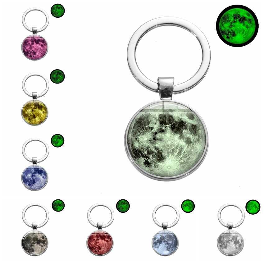 SONGDA Hot Glow In The Dark Galaxy Moon พวงกุญแจจักรวาล Planet Luminous Glass Art Charm Key Chain แหวน Idea ของขวัญ Trinket