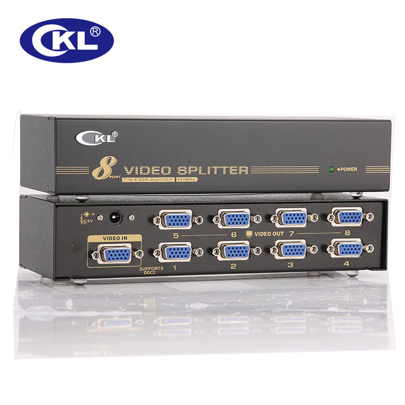 High-end 8 Port VGA SVGA XGASplitter 8 in 1 out Supports DDC DDC2 DDC2B <font><b>450MHz</b></font> 2048*1536@60Hz Metal Case CKL-108A image