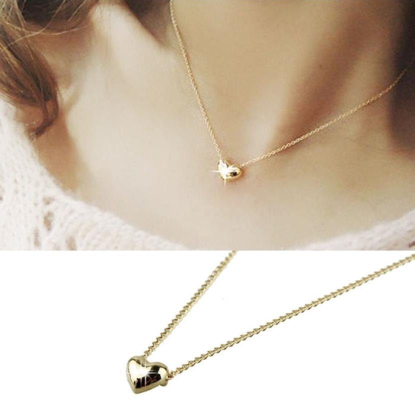 GEMIXI Simple Smooth Small Women Heart Crystal Rose Gold Pated Pendant NecklaceJewelry 5.9