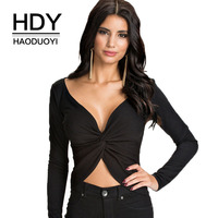 HDY Haoduoyi Brand 2017 Women Sexy Twisted Front Ruched Long Sleeve T Shirts Female Slim Ruffles