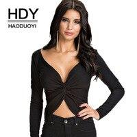HDY Haoduoyi 브랜드 2017 여성 섹시한 트위스트 전면 셔링 긴 소매 T 셔츠 여성 슬림 프릴 중공 티 레이디