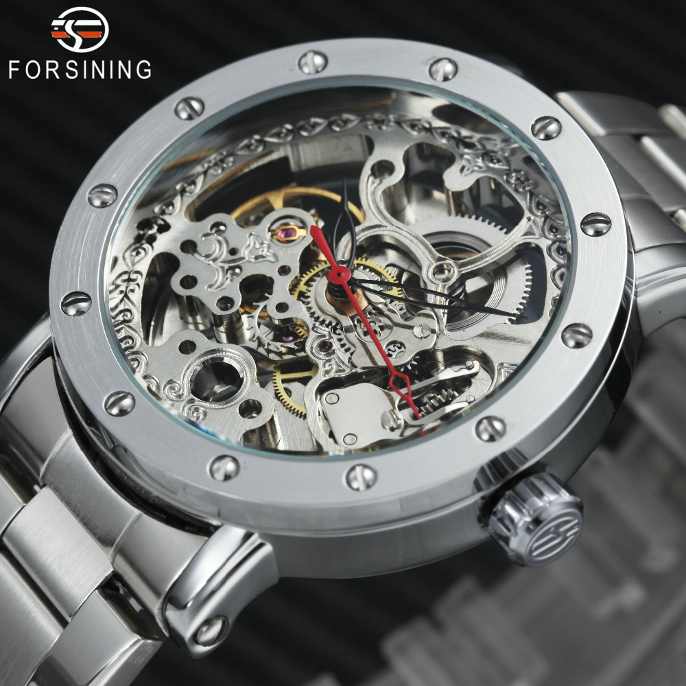 FORSINING Fashion Men Watch 2018 Top Brand Luxury Full Silver Steel Nail Design Transparent Skeleton Auto Mechanical Wristwatch forsining men s watch vogue skeleton mechanical leather analog classic wristwatch color silver fsg8090m3