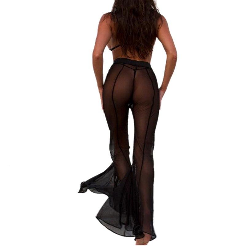 High Quality Black White Mesh Sexy High Waist   Wide     Leg     Pants   2019 Summer Beach Fishnet Bell Bottom Flare Trouser   Pants
