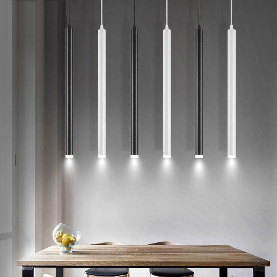 LED kolye lamba uzun floresan lamba mutfak ada yemek odası dükkanı Bar sayacı dekorasyon silindir boru asılı ışık mutfak lambası