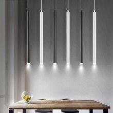 Led תליון מנורות ארוך צינור אור מטבח אי אוכל חדר חנות בר דלפק קישוט צילינדר צינור תליית אור מנורות