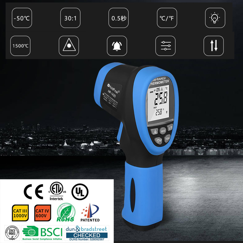 HP 1500 Digital Infrared Thermometer 50 1500C Non Contact IR Thermometer Double Laser LCD Display Industrial