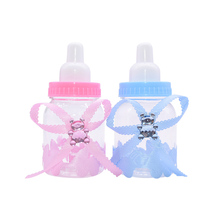 12 adet/takım şeffaf plastik besleyici şişe şeker kutusu sevimli mavi/pembe düğün doğum günü bebek duş kek Topper parti malzemeleri