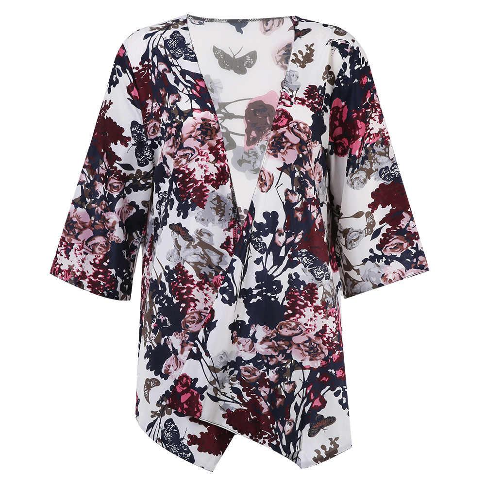 Lato w stylu Vintage, kwiatowy luźne Boho kardigan szyfonowy bluzka płaszcz kurtka Top kwiat drukowane bluzki koszule znosić