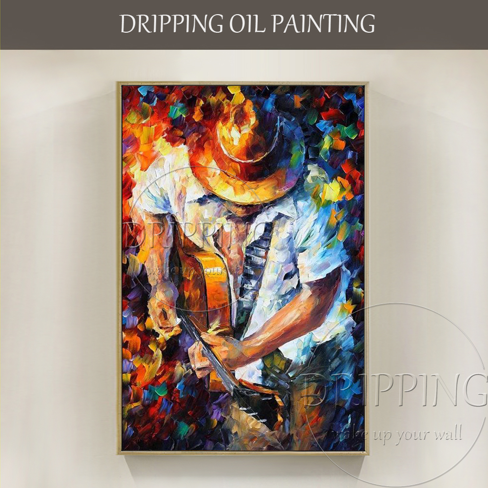 Professional Artist Handmade High Quality Modern Wall Art Cowboy Oil Painting Textured Knife Cowboy Playing Guitar Oil Painting
