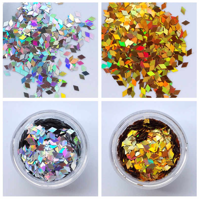 2*4mm Laser Goud/Zilver Nail Pailletten Sparkles Holografische Rhombic Glitter Flakes Nail Art Glitter Poeder Stof Nail Decorations