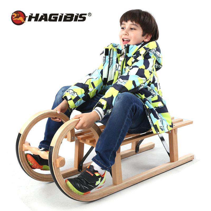 HAGIBIS Hot Sale Winter Snow Sled, Beech Wood Snowboard, Sleigh For Above 5ages Teens