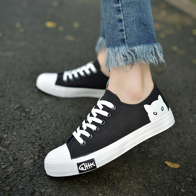 Women Sneakers 2018 New Arrivals Fashion Cat Lace-up Black/white Woman School Shoes Original Shallow Casual Canvas Shoes Women 982118319395 xtep 2018 new fashion street women s bowknot stan bow tie lace up white black skateboard shoes