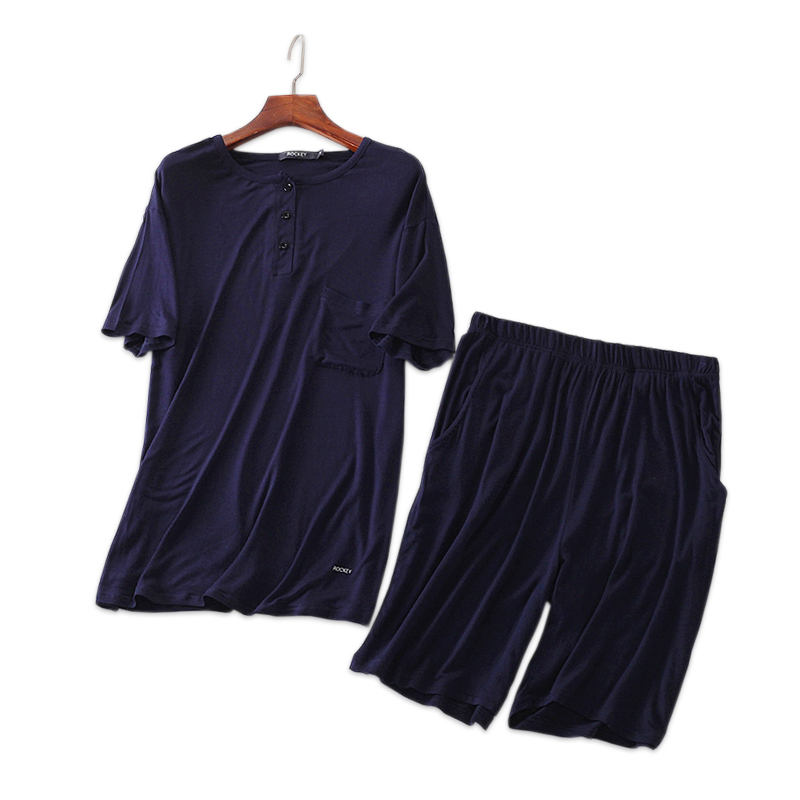 Summer Modal Pure Color Male Pajamas Sets Shorts Sleepwear Simple Pijamas For Men Short Sleeves Homewear Pyjamas Men