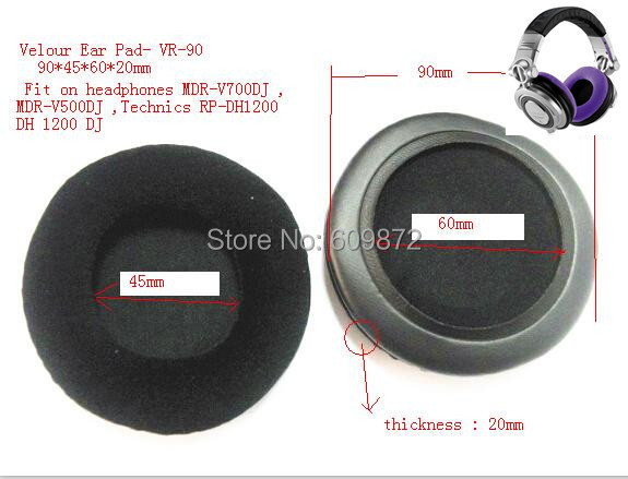 Replacement velour Cushions head pads ForTechnics RP-DH1200,HDJ-1000 and HDJ-2000. MDR-V700
