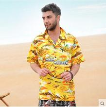 2017 Mens Hawaiian Shirt Casual Short-Sleeved  Loose Floral Cotton Beach Shirt For Man Camisa Masculino Female Blouse Shirt  K26