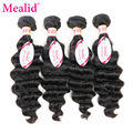 Mealid Loose Wave Brazilian Hair Loose Wave Virgin Hair 4 Bundles 8a Grade Virgin Unprocessed Human Hair Brazilian Loose Wave