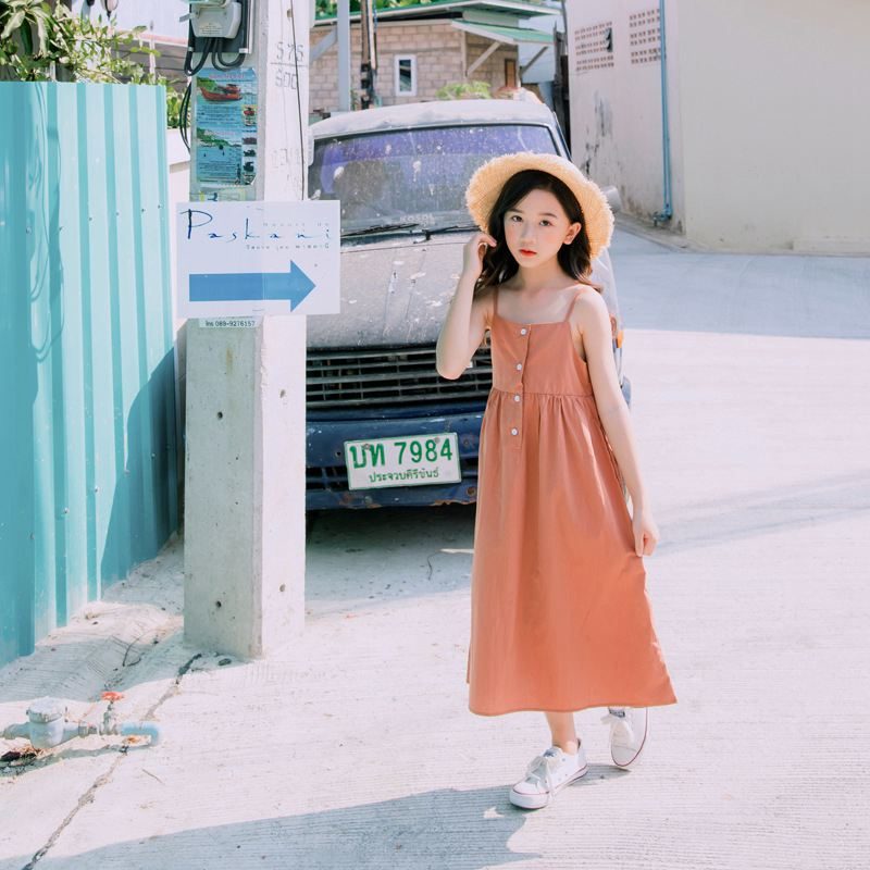 New summer sleeveless cotton solid kids dresses beach girl party dress 4 5 6 7 8 9 10 11 12 13 14 years old baby girl clothes