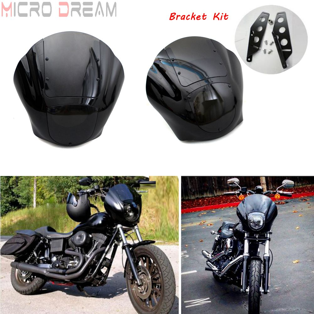 Black Motorcycle Headlight Cowl Fairing with Bracket Kit For <font><b>Harley</b></font> Sportster <font><b>Iron</b></font> <font><b>883</b></font> 1200 Dyna Low Rider FXD FXDL FXDB FXDC image