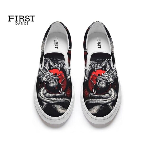 Giày tùy chỉnh Mùa Xuân Trượt Trên Vải Trọng Lượng Nhẹ Phụ Nữ Giản Dị của Căn Hộ Đi Bộ Thể Thao Sneaker Chạy Bộ Giày Dép Retro In Ấn 35- 45