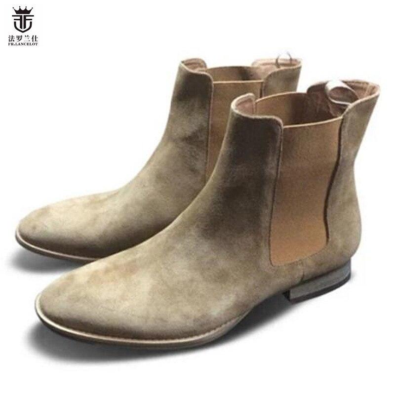 2019 FR. LANCELOT jesień zima Patchwork krowa Suede mężczyźni Chelsea buty Slip On buty męskie botki hurtownie w Buty sztyblety od Buty na  Grupa 1