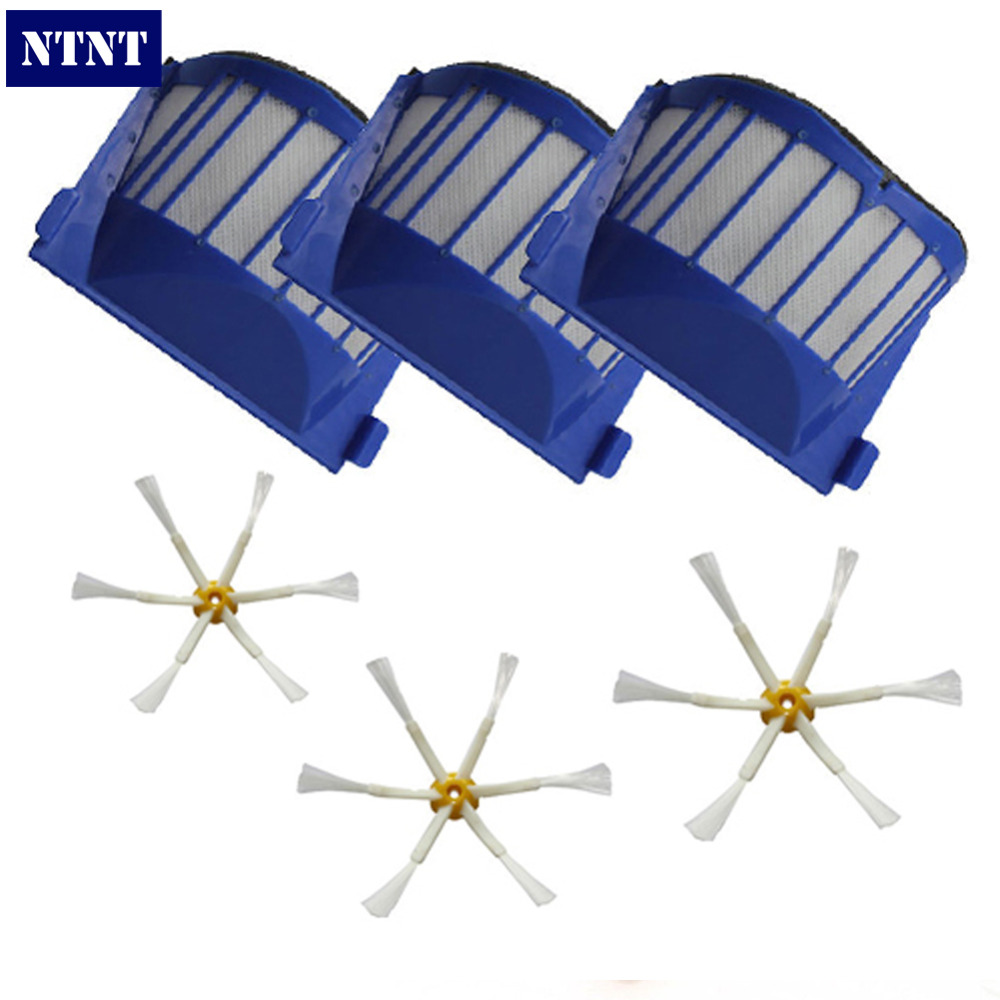 NTNT Free Post New For iRobot Vacuum Roomba 600 Series 3 Brush 6-Armed + AeroVac Filter 620 630 660 free post new blue 6 x aerovac filter for irobot roomba 600 series 620 630 650 660 670 680