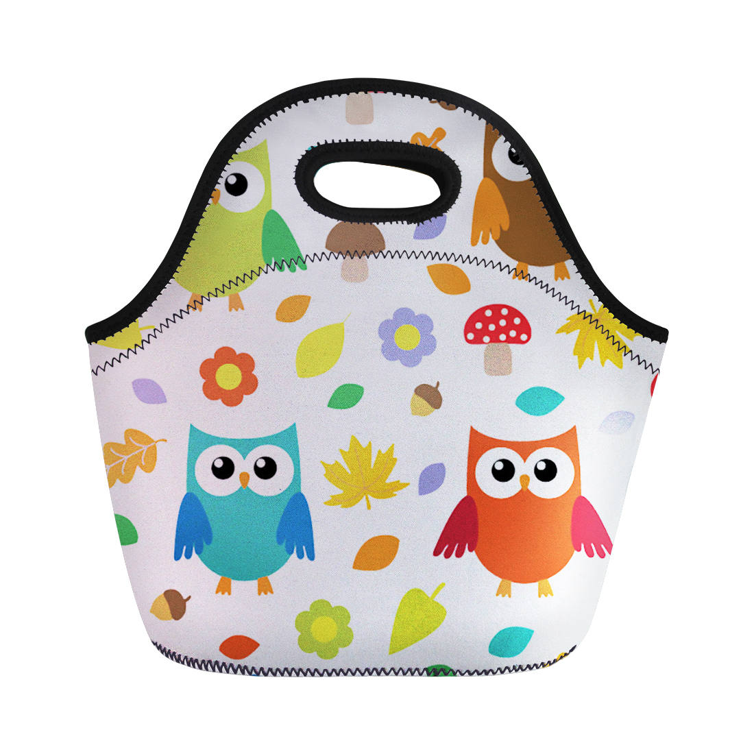 FORUDESIGNS Cartoon Owl Insulated Lunch Bag for Kids Thermal Food Picnic Handbag for Girls Women Package Lunch Box Bag Tote