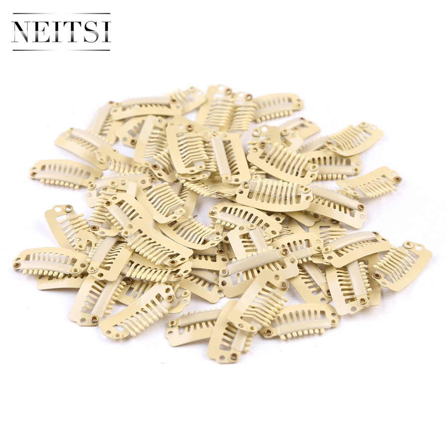 Neitsi 2.8cm I Shape Clips Stainless Steel Hair Snap Clips for Feather Clip In Hair Extensions Wigs Weft 50pcs/pack 4 Colors