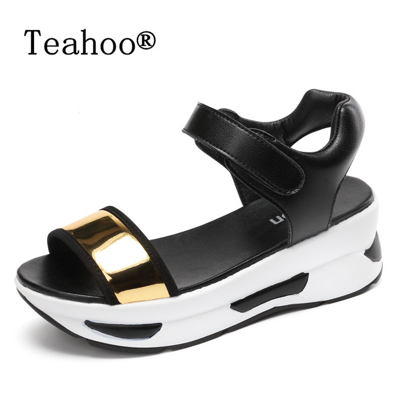 Summer Style Gladiator Platform Sandals Casual Shoes Women 2017 Leather Thick High Heels Summer Women Sandals Wedges Shoes Woman timetang 2017 leather gladiator sandals comfort creepers platform casual shoes woman summer style mother women shoes xwd5583