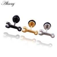 Alisouy-pendientes de acero inoxidable estilo Punk para hombre, aretes, Piercing, 1 par